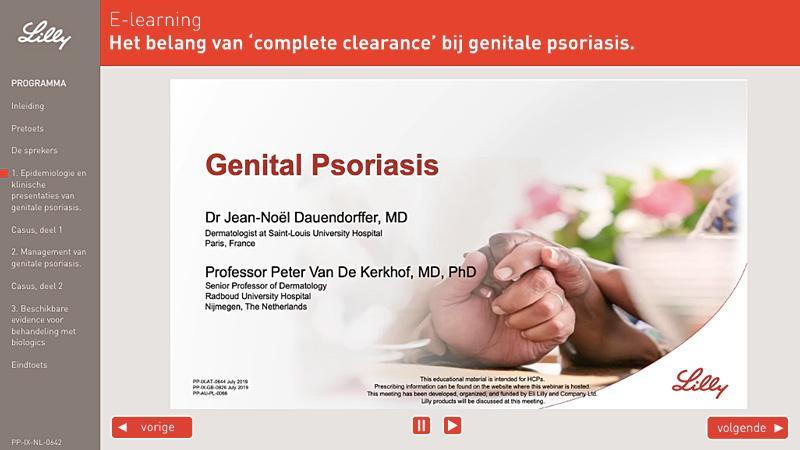 E-learning Het belang van 'complete clearance' bij genitale psoriasis